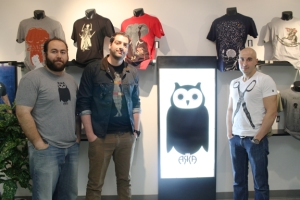 ARKA Founders (from left to right) Sevan Aliksanian, Burag Celikian, and Shant Der Ashodian display their T-shirt designs at their showroom located in the Fashion District in Downtown L.A (phoro by Karen M. Guzelian)